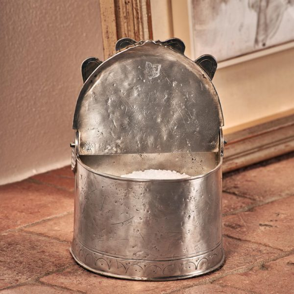 Salzgefäß mit Holzdeckel - Salzgefäß aus Zinn - Zinn 95% (388)