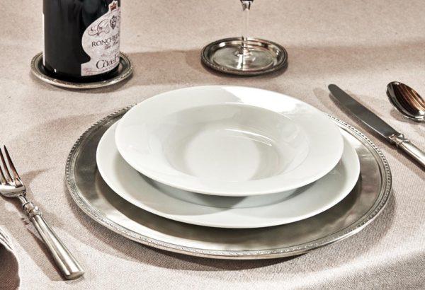 Platzteller Flaschenuntersetzer und Glasuntersetzer aus Zinn - Artikel rund um den Tisch aus Zinn - Zinn 95% (423-424-425)