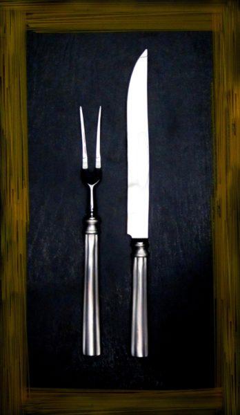 Braten Besteck Set aus Zinn (763-762)