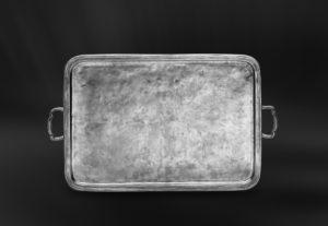 Kleines Rechteckiges Tablett aus Zinn mit Henkeln - Rechteckiges Zinntablett mit Henkeln (Art.362)