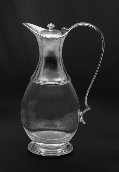 Krug aus Zinn und Glas mit Deckel (Art.596)