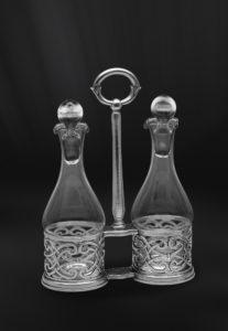 Set für Öl und Essig aus Zinn - Menage aus Zinn und Glas (Art.586)
