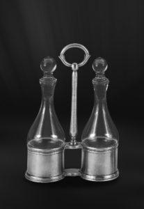 Set für Öl und Essig aus Zinn - Menage aus Zinn und Glas (Art.643)
