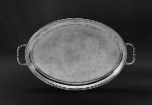 Ovales Tablett aus Zinn mit Henkeln - Ovales Zinntablett mit Henkeln (Art.448)