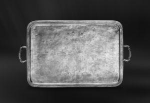 Rechteckiges Tablett aus Zinn mit Henkeln - Rechteckiges Zinntablett mit Henkeln (Art.363)
