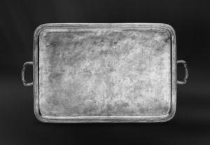 Rechteckiges Tablett aus Zinn mit Henkeln - Rechteckiges Zinntablett mit Henkeln (Art.364)