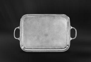 Rechteckiges Tablett aus Zinn mit Henkeln - Rechteckiges Zinntablett mit Henkeln (Art.570)