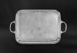 Rechteckiges Tablett aus Zinn mit Henkeln - Rechteckiges Zinntablett mit Henkeln (Art.571)