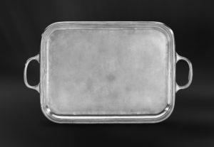 Großes Rechteckiges Tablett aus Zinn mit Henkeln - Rechteckiges Zinntablett mit Henkeln (Art.572)