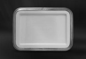 Rechteckiges Tablett aus Keramik und Zinn (Art.858)