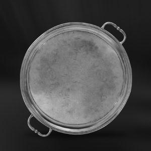 Rundes Tablett aus Zinn mit Henkeln - Rundes Zinntablett mit Henkeln (Art.447)