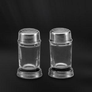 Set für Salz und Pfeffer aus Zinn und Glas - Salz und Pfefferstreuer aus Zinn (Art.547)