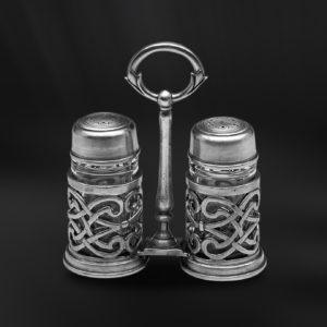 Set für Salz und Pfeffer aus Zinn und Glas - Salz und Pfefferstreuer aus Zinn (Art.588)