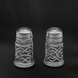 Set für Salz und Pfeffer aus Zinn und Glas - Salz und Pfefferstreuer aus Zinn (Art.589)